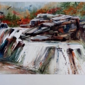Kathleen Conover water media painting of falls on Yellow Dog River