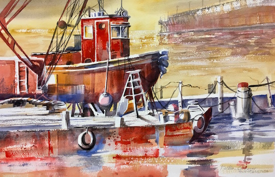 Kathleen Conover water media painting of Tug in Lake Superior