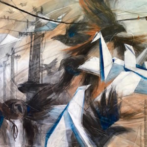 Kathleen Conover's new Industrial Evolution Series painting using Gesso Juice