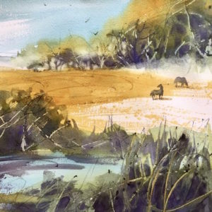 Kathleen Conover expressive watercolor pastoral landscape with horses. Cheerful and colorful.