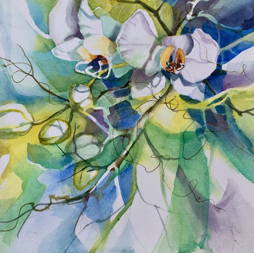 Kathleen Conover transparent watercolor orchids