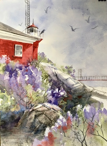 Lilacs all around the Marquette Harbor Lighthouse