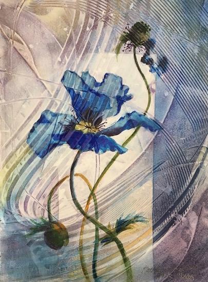 Original Watermedia painting of blue poppy.